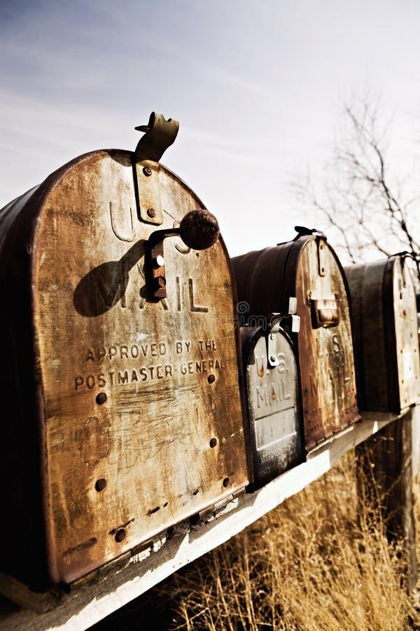 Alte amerikanische Mailboxes in Mittelwesten lizenzfreies stockbild