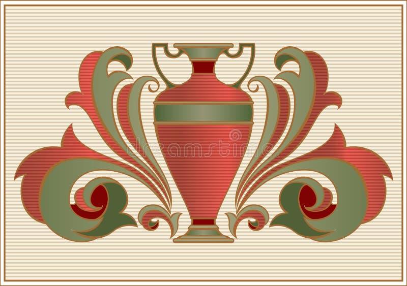 Alte Amphore für Wein auf Weinlese verzierten reich Hintergrund vektor abbildung