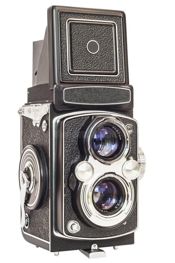 Alte analoge Doppellinsen-Spiegelreflexkamera lokalisiert auf weißem Hintergrund stockbild