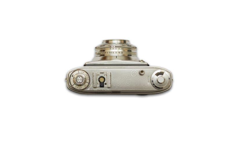 Alte analoge Fotokamera auf lokalisiertem weißem Hintergrund, Retro-, Draufsicht lizenzfreies stockfoto