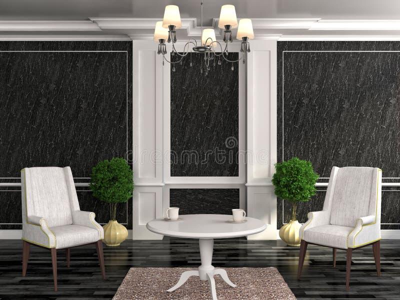 Alte angeredete Möbel Lehnsessel mit Tabelle im schwarzen Innenraum vektor abbildung
