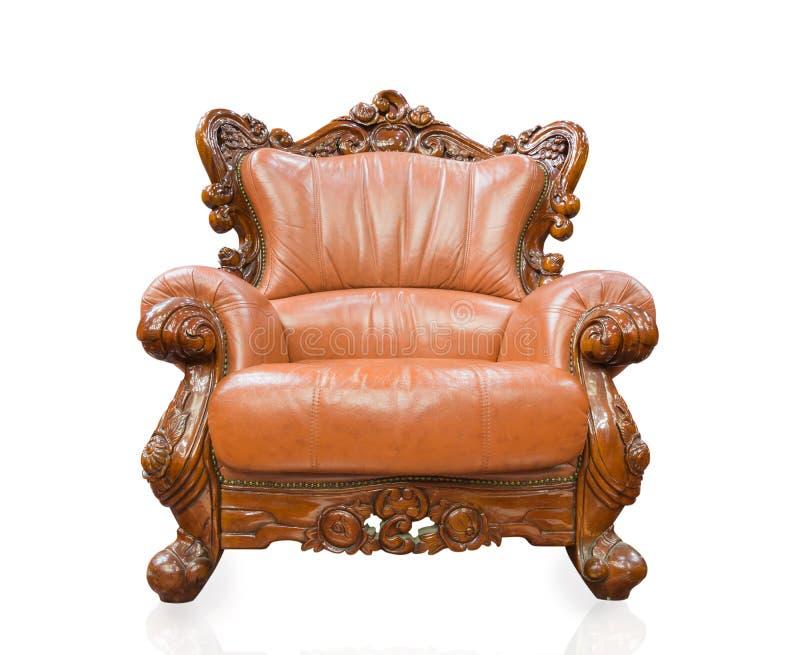 Alte angeredete Sofaweinlese-Lehnsesselmöbel lokalisiert auf weißem BAC lizenzfreie stockfotos