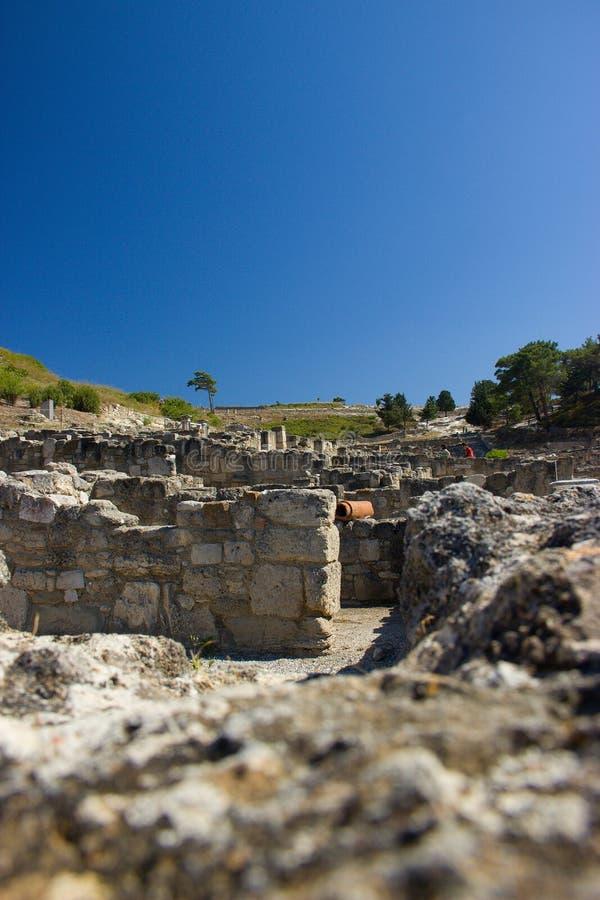 Alte Architektur Kamiros Rhodos Griechenland historisch lizenzfreie stockbilder