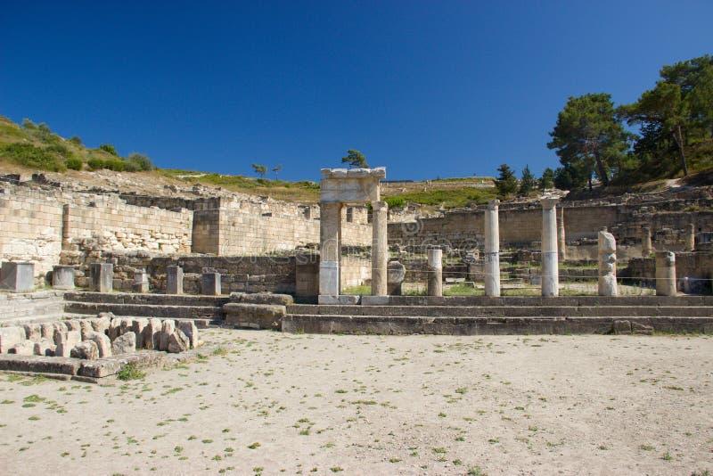 Alte Architektur Kamiros Rhodos Griechenland historisch lizenzfreie stockfotos