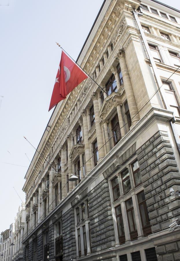 Alte Architekturstrukturen T?rkische Flagge lizenzfreie stockbilder
