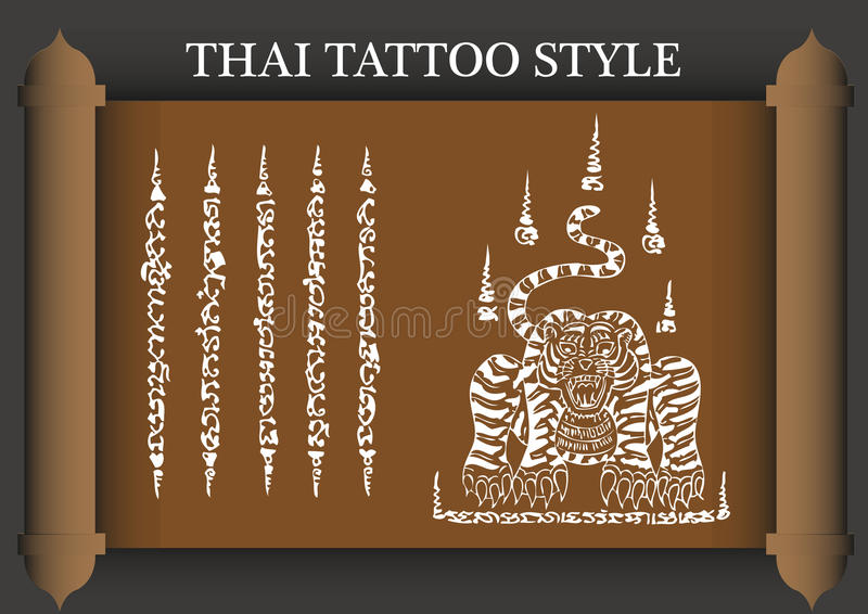 Alte Art der thailändischen Tätowierung lizenzfreie abbildung