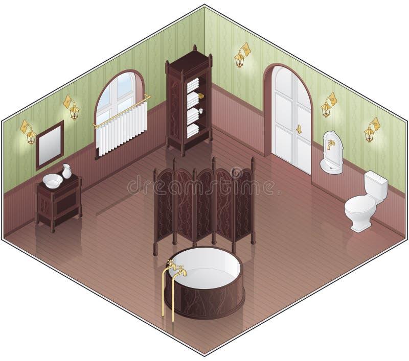 Alte Art-Grün-Badezimmer stock abbildung