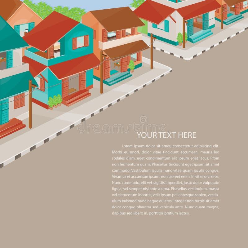 Alte Arten Dörfer mit Raum für Ihren Text stock abbildung