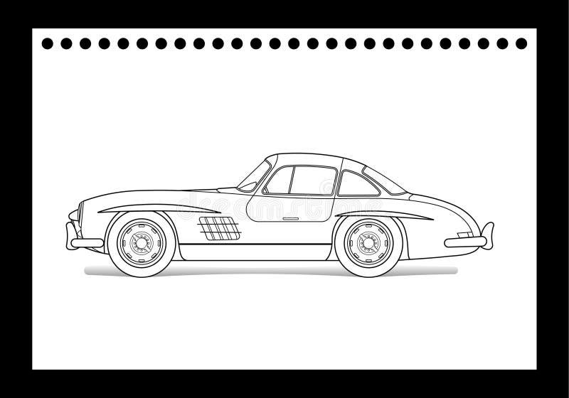 Alte Autozeichnung vektor abbildung. Illustration von straße - 19930894