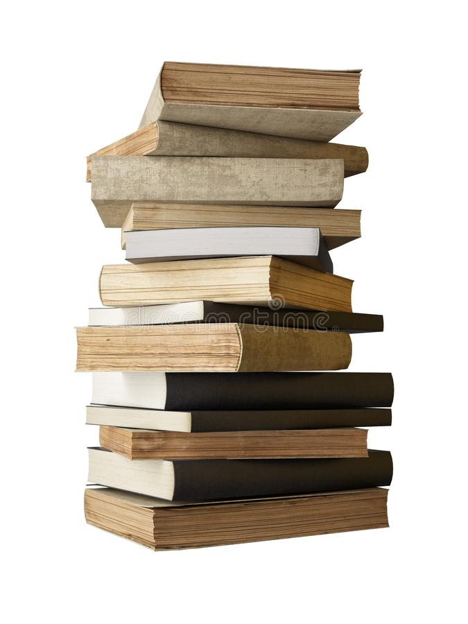 Alte Bücher lokalisiert auf weißem Hintergrund, Bücherfreund lizenzfreie stockfotos