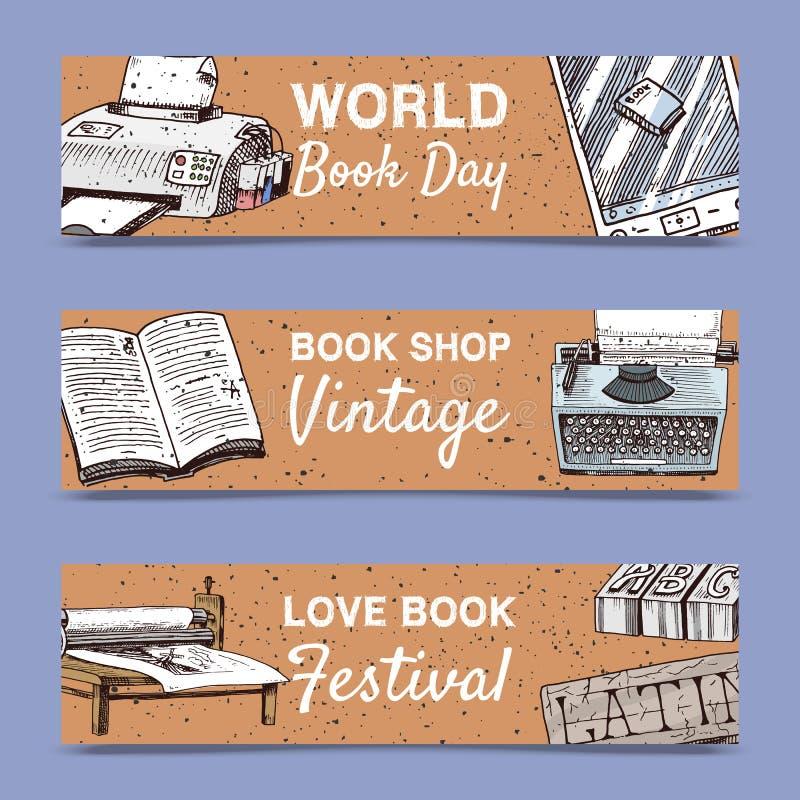 Alte Bücher stellten von der Fahnenvektorillustration ein Weinlese oder antikes schreibendes Briefpapier- und Buchmanuskript mit  vektor abbildung