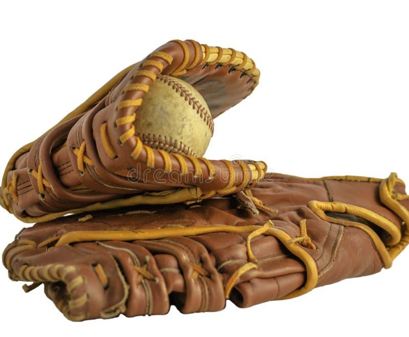 Alte Baseballhandschuhe stockfoto