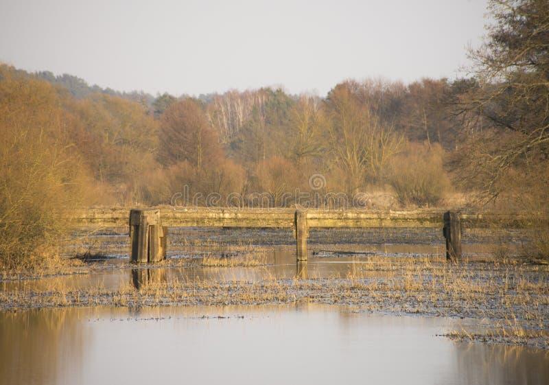 Alte Brücke über dem Fluss lizenzfreies stockbild