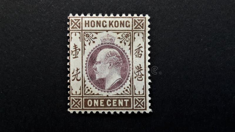 Alte Briefmarke von Hong Kong 1c stockbild