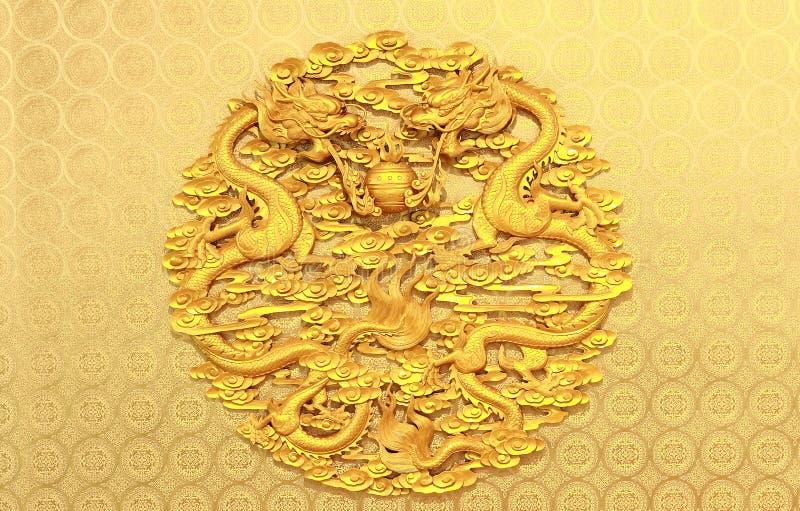 Alte chinesische Entlastung mit zwei Drachen stockfotografie