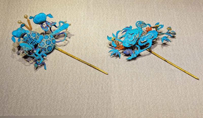 Alte chinesische Phoenix-förmige Haarnadel stockfoto