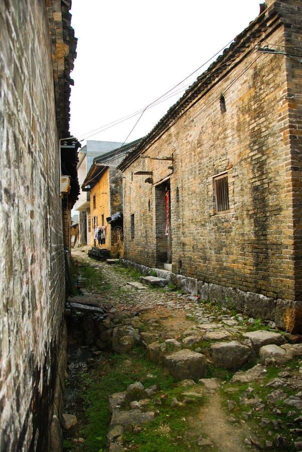 Alte chinesische Straße in einem Dorf stockfotografie