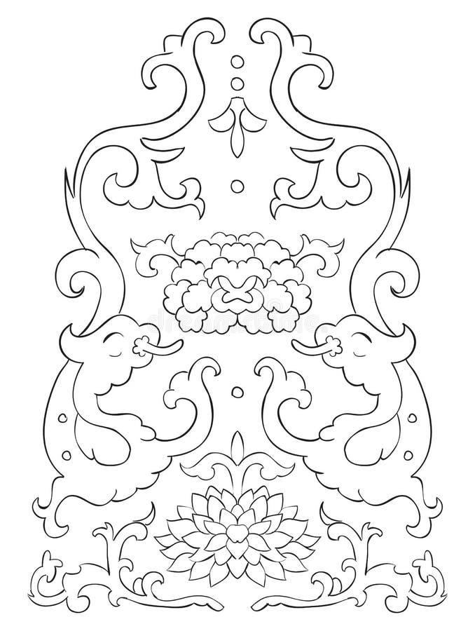 Alte chinesische Vignetten von Blumen und von Drachen lizenzfreie abbildung