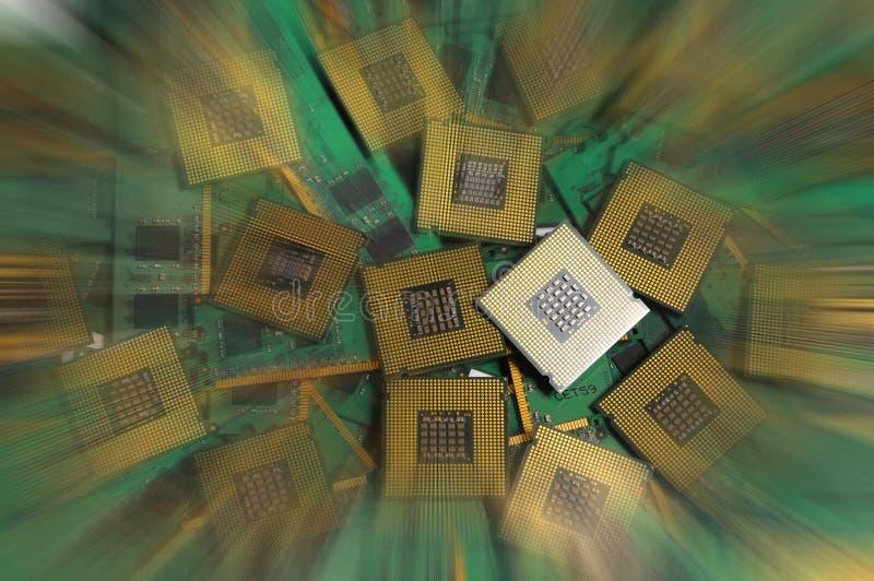 Alte Computer-CPU-Prozessoren mit RAM-Gedächtnismodulen stockbilder