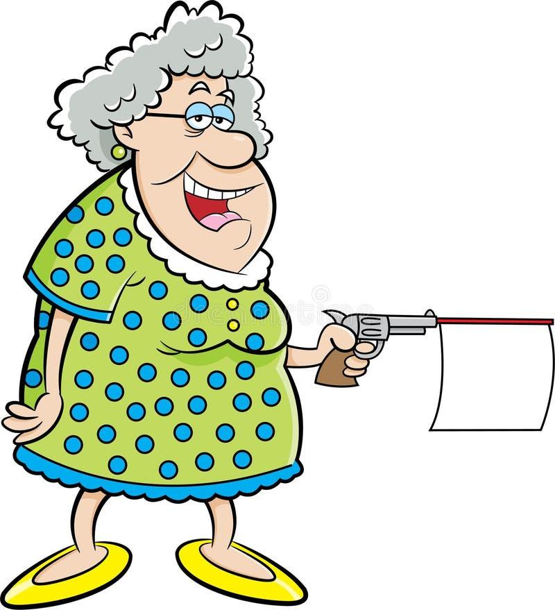 Alte Dame der Karikatur, die ein Gewehr mit Mitteilung schießt vektor abbildung