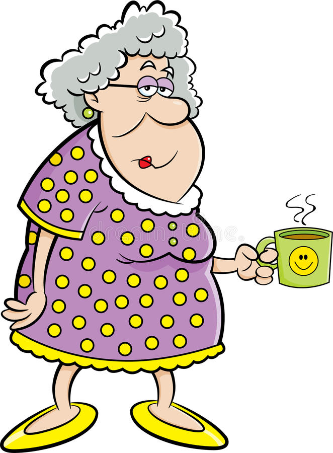 Alte Dame der Karikatur, die eine Kaffeetasse hält lizenzfreie abbildung