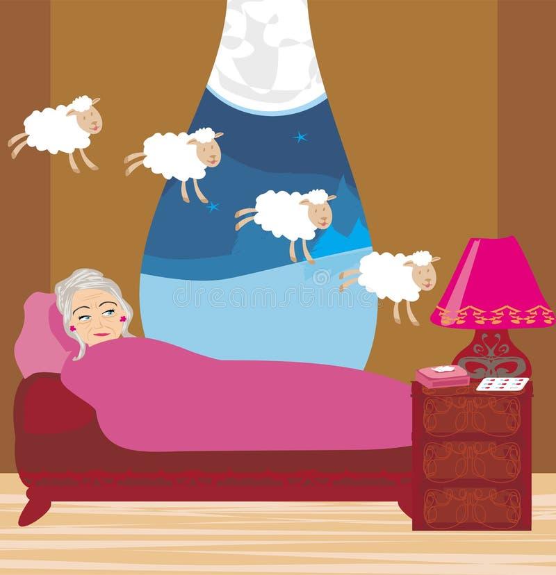 Alte Dame, die Schafe zählt, um einzuschlafen stock abbildung