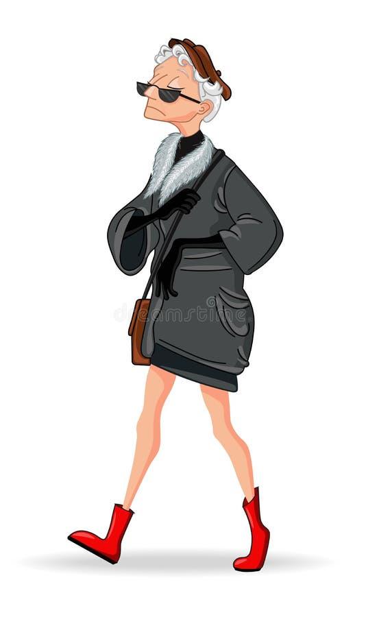 Alte Dame Mode gekleideter Vektor Zeichentrickfilm-Figur lokalisiert auf Weiß stock abbildung