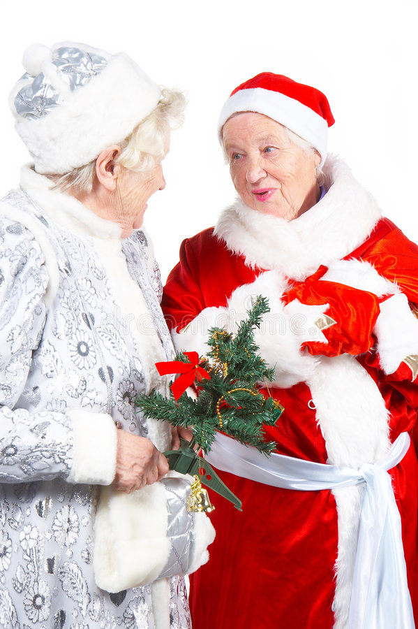 Alte Dame-Schnee-Maid und Sankt lizenzfreies stockbild