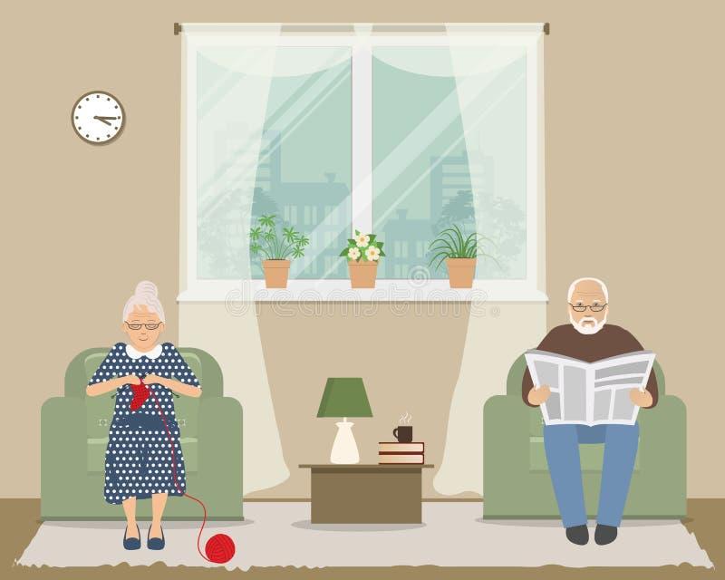 Alte Dame und alter Mann sitzen in den Lehnsesseln auf einem Fensterhintergrund vektor abbildung