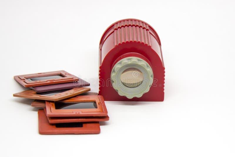 Alte Dias, Film und ein Handprojektor für Betrachtenfotos lizenzfreie stockfotografie