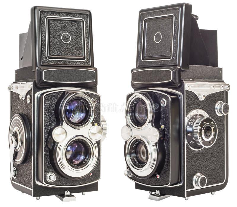 Alte Doppellinsen-Spiegelreflexkamera lokalisiert auf weißem Hintergrund stockbild