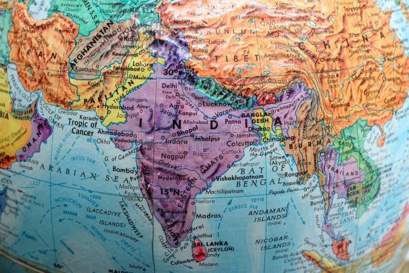 Alte Druck-Karte, Erdkugel, Asien stockbild