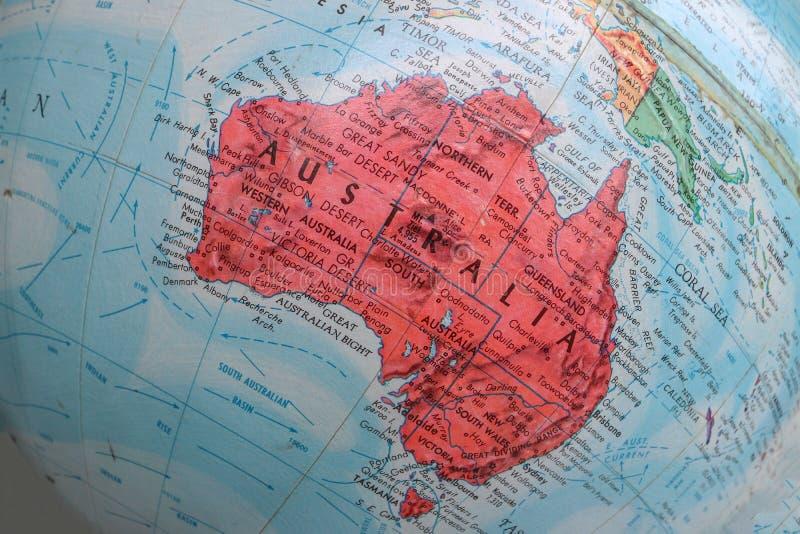 Alte Druck-Karte, Erdkugel, Australien stockfoto