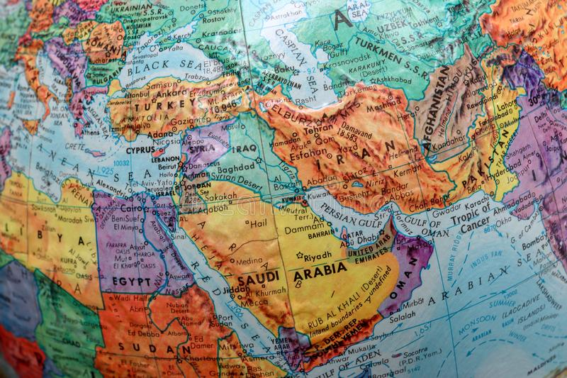 Alte Druck-Karte, Erdkugel, die Türkei, der Iran, der Irak, Saudi-Arabien stockfotos