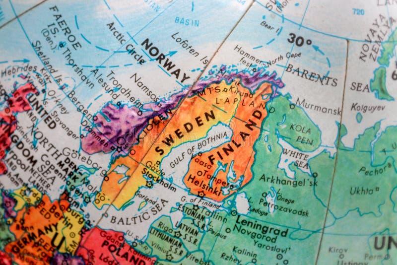 Alte Druck-Karte, Erdkugel, Schweden, Finnland lizenzfreies stockbild