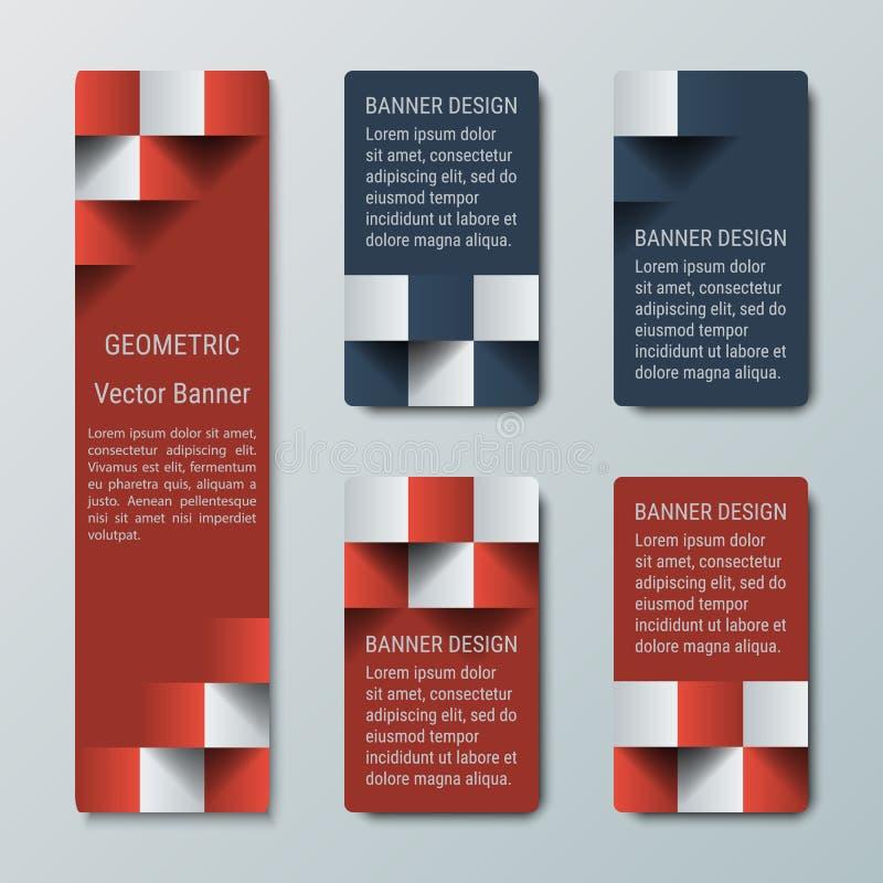 Alte ed insegne rettangolari medie verticali geometriche con effetto 3d per un sito Web di affari royalty illustrazione gratis