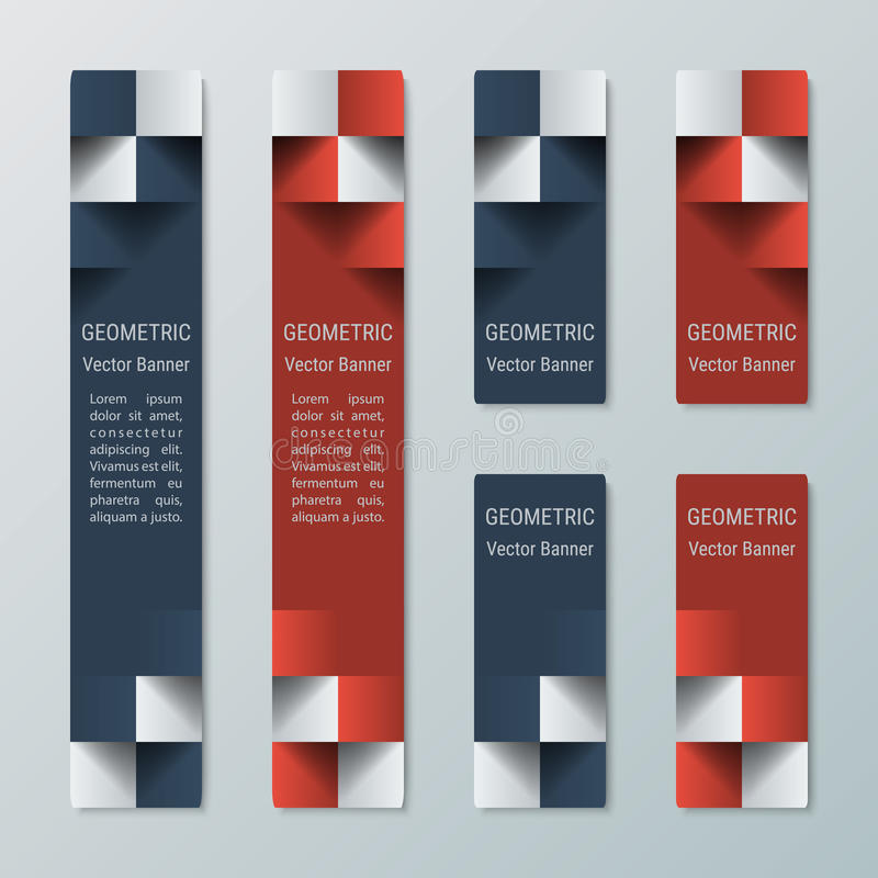 Alte ed insegne rettangolari strette medie verticali geometriche con effetto 3d per un sito Web di affari illustrazione di stock