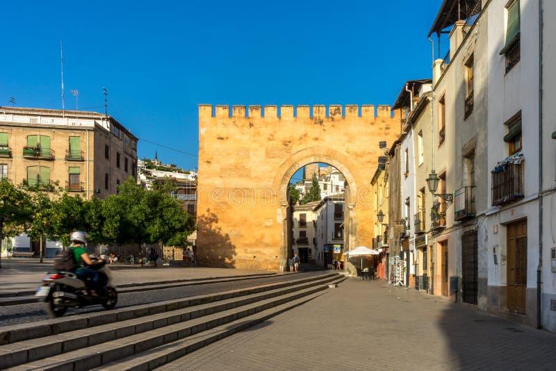 Alte Eingangswand zur Stadt von Granada, Spanien, Europa während g lizenzfreie stockbilder