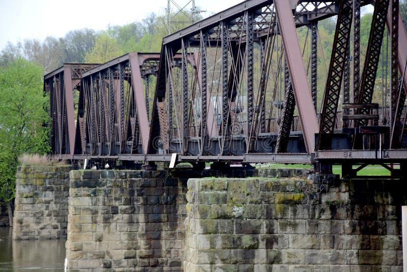 Alte Eisenbahn-Brücke stockbilder