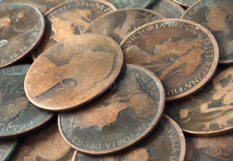 Alte englische Münzen stockbild