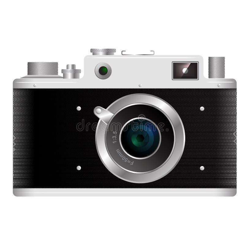 Alte Entfernungsmesserfilmkamera auf einem weißen Hintergrund lizenzfreie abbildung