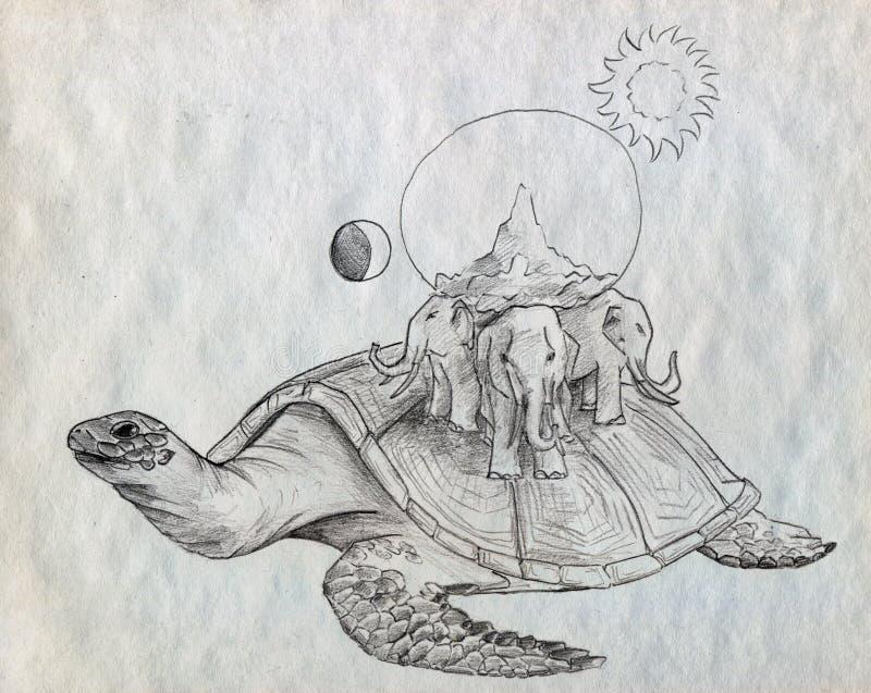 Alte Erde auf der Schildkröte und drei Elefanten lizenzfreie abbildung