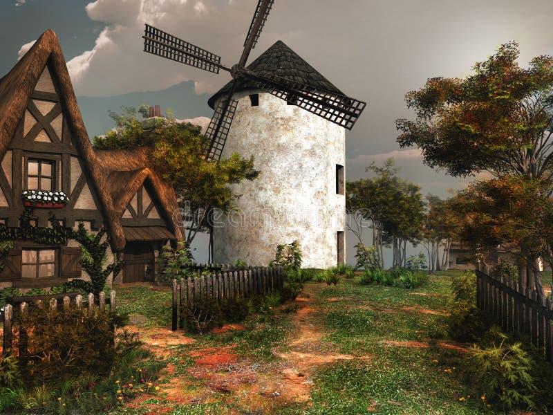 Alte erneuerte Windmühle lizenzfreie abbildung