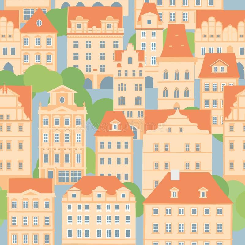 Alte europäische Stadt Dekorative beige Häuser mit mit Ziegeln gedeckten Dächern Nahtloses Muster vektor abbildung