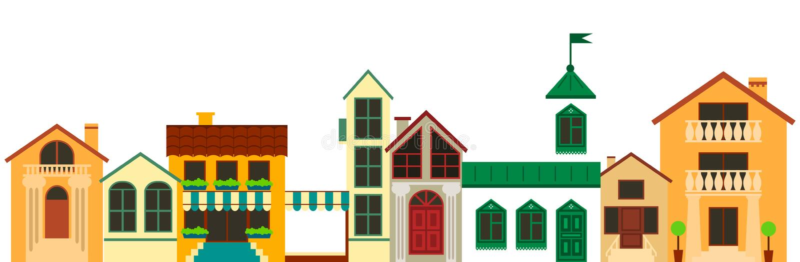 Alte europäische Stadtlandschaft Bunte Hausillustration des Vektors lizenzfreie abbildung