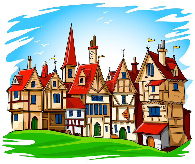 Alte europäische Stadtvektorabbildung lizenzfreie abbildung