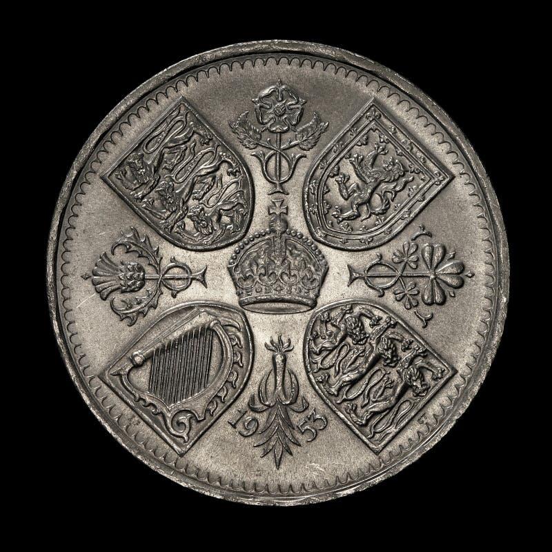 Alte fünf-Schilling-Münze stockfotografie