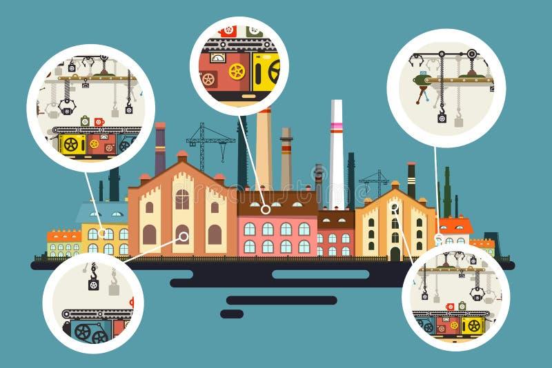 Alte Fabrik mit Kamin-Stapeln lizenzfreie abbildung
