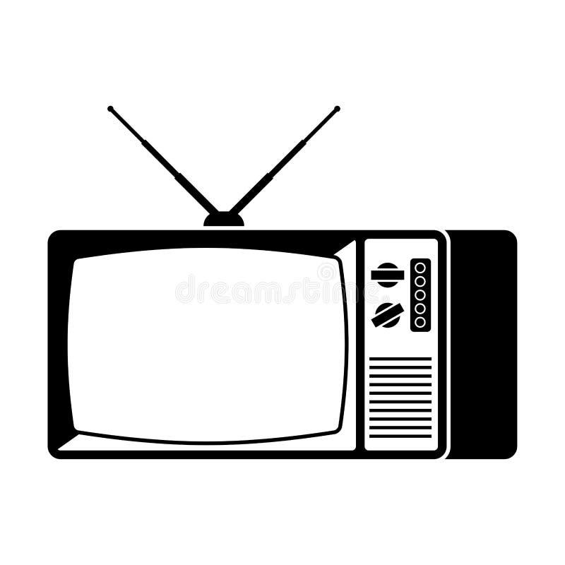 Alte Fernsehikone Fernsehretro- Zeichen Auch im corel abgehobenen Betrag vektor abbildung