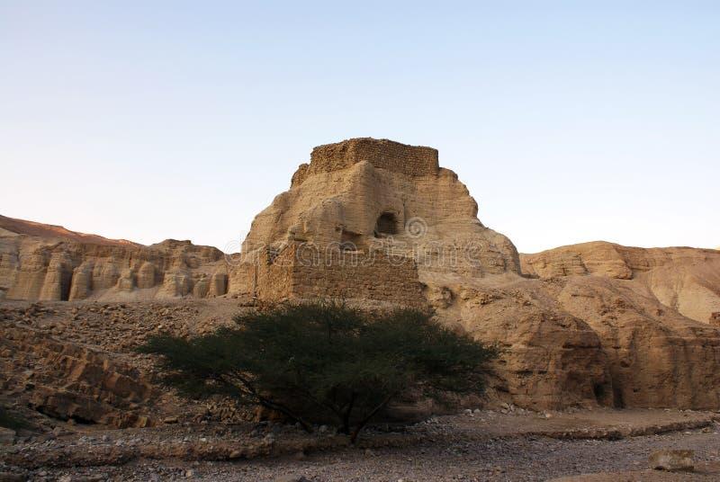 Alte Festung Neve Zohar in der Wüste Arava lizenzfreies stockbild